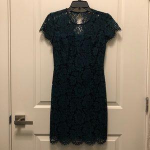 Banana Republic Green Lace Capsleeve Mini Dress 0P